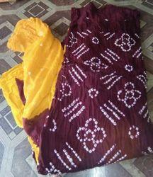 Regular Wear Cotton Satin Bandhani Dress Material
