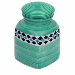 Sea Green Ceramic Jar