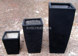 Black Vertical Elegance Slate Planter