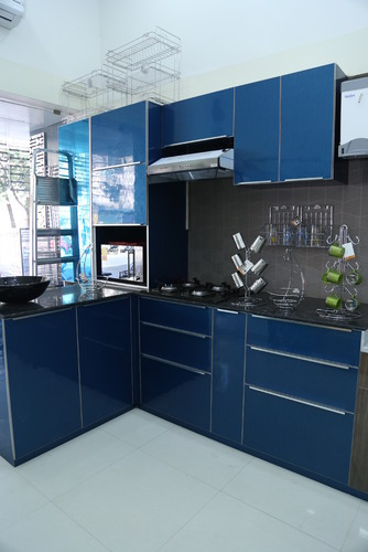 Modern indian style l shaped modular kitchen rs 80000 unit id 14073794262 for L shaped kitchen design ideas india