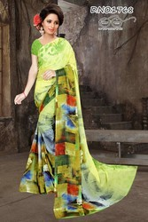 Georgette Printed Sarees, Length: 6.3 m
