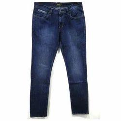 Plain, Washed Punit Polyfab Blue Cotton Mens Jeans