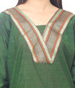 Designer Leaf Green Cotton Kurti