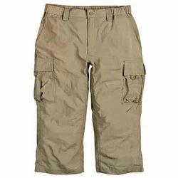 Brown, Brownish Stretchable Men's Plain Capri