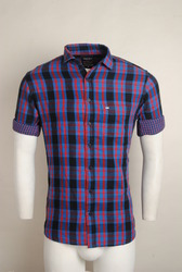 Purple Checked Urban Design Casual Shirts