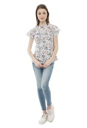 V-Neck Printed Stylist Front Key Hole Top for Women