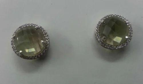 Lemon Topaz Silver 925 Stud Earring