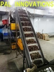 Stainless Steel Fixed Conveyors Potato Lift Conveyor, For Food Industry