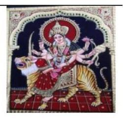 Sri Durga Tanjore Painting, Size: 12 X 15 Inches