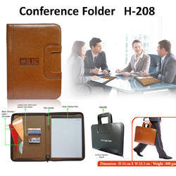 Black Leather A4 Conference Folder for Document holder