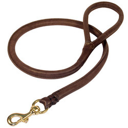 Round Leather  Rottweiler Dog Leash