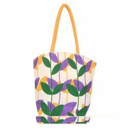 Floral Print Jute Bag