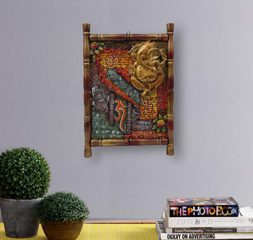 Wooden Antique Ganesha 3D Wall Art Framed Painting, Lakdi Par ...