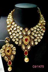 Brass Imitation Kundan- Polki Necklace, For Wedding
