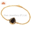 Smoky Quartz Stone Gold Plated Chain Bracelet Jewelry