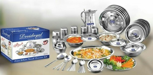 Devidiyal Shinning silver Stainless Steel Dinner Set, for Home and Hotel/Restaurant
