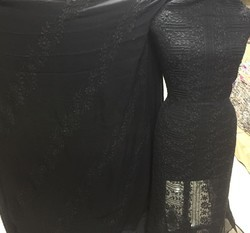 Casual Wear Black Georgette Embroidery Suits