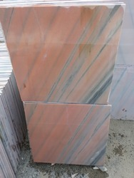 Indian Marble White Pink Marble Tiles Lira Cut Size, Thickness: 16 mm, for Staircase