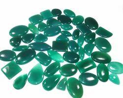 Unisex Nanplanetsilver Green Onyx Mix Shape Size Cabochon Lot