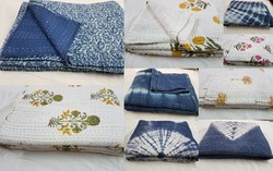 Queen Size Bedding Reversible Throw Kantha Quilt