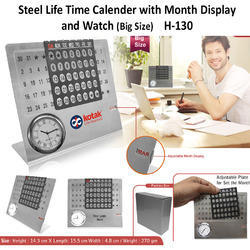 Steel Life time Calendar with Month Display and Watch H-130