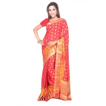 3dfdf8eeed4f8 Ladies Chiffon Red   Golden Saree