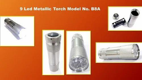 Metallic 9 LED Bright Torch