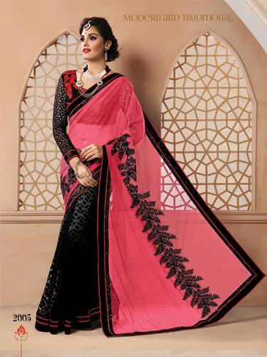 eee0d4cb48ac9 Pink, Black Party Wear Georgette, Net Saree, Rs 2495 /piece | ID ...