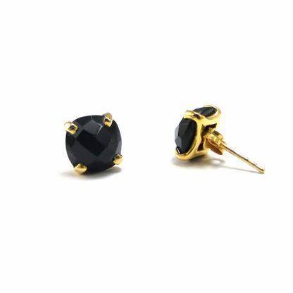 Micron Gold Plated Black Onyx Studs