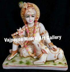 Marble Cow Krishna Statue