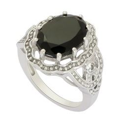 Natural Black Onyx Silver Ring