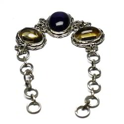 Big Cab Gemstone 925 Sterling Silver Bracelet