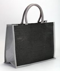 EarthyyBags Black and Gray Juco Bag