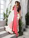 Pink and White Printed Saree