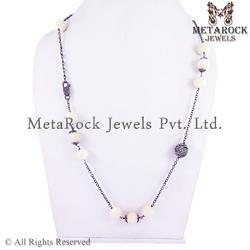 Latest Onyx Gemstone Diamond Necklace Jewelry