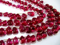 Red Ruby Imitation Flat Drops Beads, Shape: Pear Heart