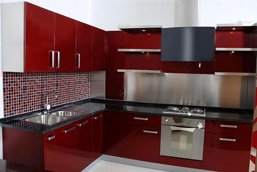 Modular Kitchen Maroon Color Combination