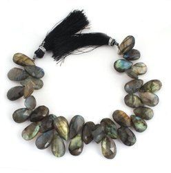 Labradorite Faceted Pear Briolettes Beads Strand