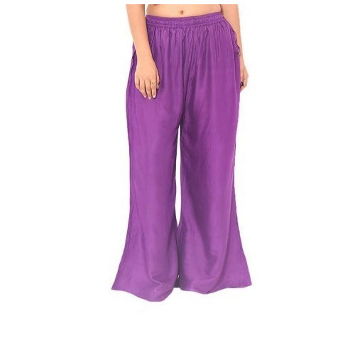 Ladies Purple Plain Palazzo