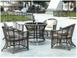 Cane Style Outdoor Wicker Coffee Set