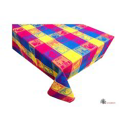 Checked Multicolor Jacquard Table Cloth, Size: 150x150