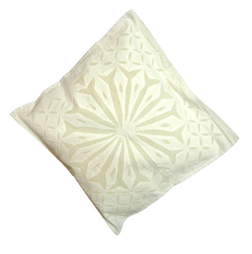 White Cotton Handmade Cutwork Cushion Cover