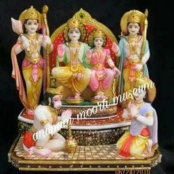 White marble Shri Ram Darbar statue