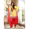 Cotton Yellow And Red Patiala Suit
