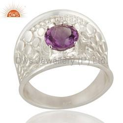 Designer Sterling Silver Amethyst Gemstone Ring Jewelry