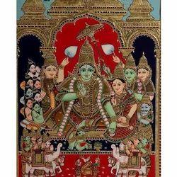 Wooden (frame) Ramar Pattabhishekam Tanjore Painting