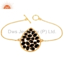 Gold On 925 Silver Beaded Black Onyx Bracelet Jewelry