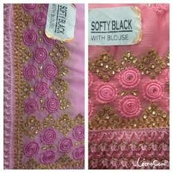 Pink N Purple Party And Festive Wear Sarees, Construction Type: Machine