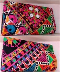 bagzVela Black & MultiColor Kutch Embroidered Clutch