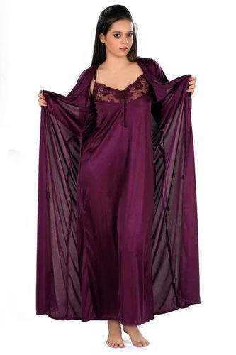 bf42558f5f Satin Free Size Maroon Fancy Nightwear